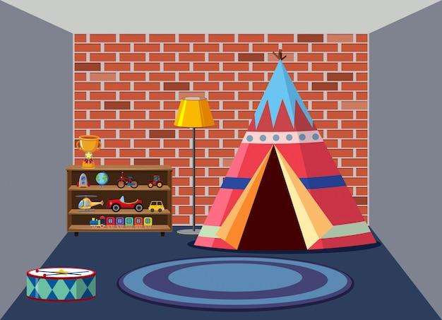 Interior of childrens playroom Premium Vector