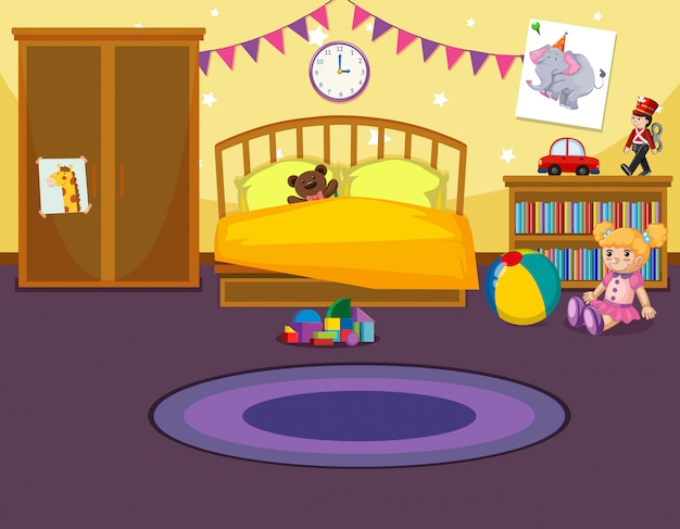 Interior of childs bedroom Free Vector