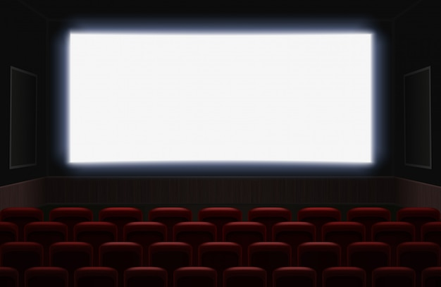 Interior Of A Cinema Movie Theatre With Shiny White Blank Screen Red Cinema Or Theater Seats In Front Of The Screen Empty Cinema Auditorium Background Illustration Premium Vector