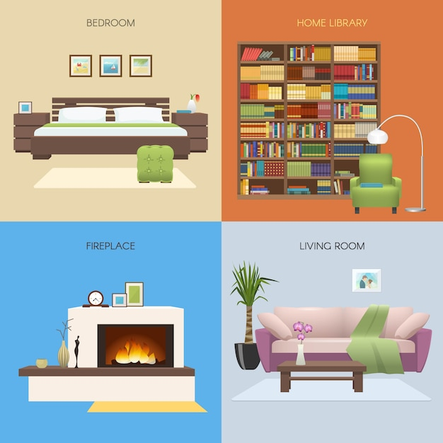 Interior colored compositions with bedroom and home library fireplace and comfortable lounge isolated vector illustration Free Vector