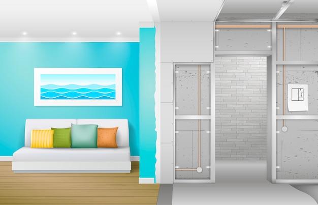 Interior under construction Premium Vector