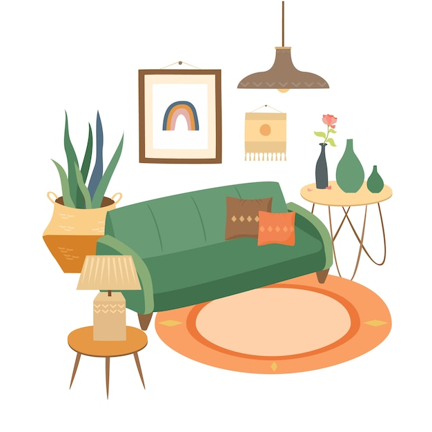 Interior of a cozy living room Free Vector