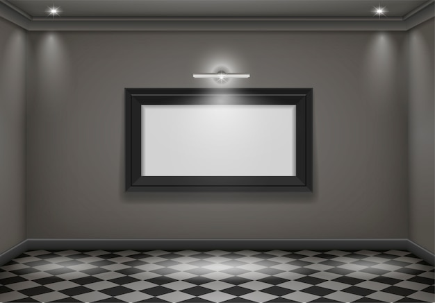 Interior dark room Premium Vector