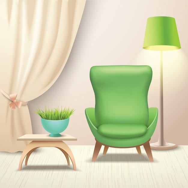 Interior Design Armchair Premium Vector
