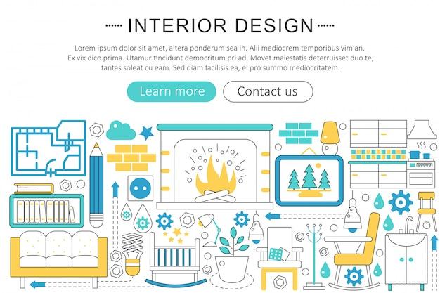 Interior design decor flat line concept Premium Vector
