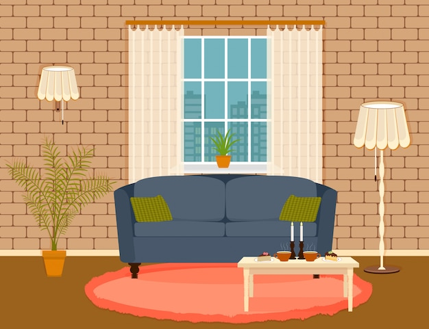 Interior design in flat style of living room with furniture, sofa, , table, houseplant, lamp and window. Premium Vector