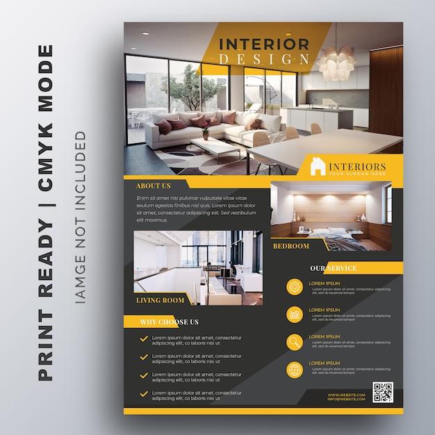 Interior design flyer design template Vector