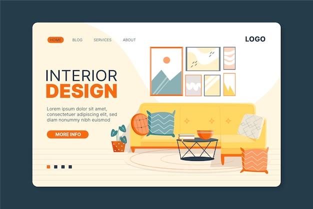 Целевая страница дизайна интерьера Premium векторы