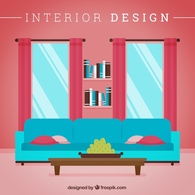 Interior design of living room vector free download for Room design vector