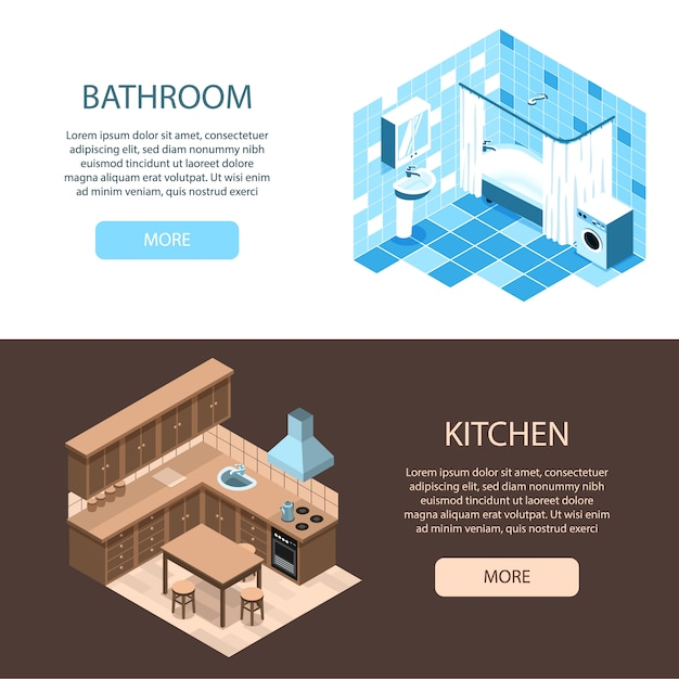 Free Vector Interior Design Specialists Online 2 Isometric Horizontal Web Banners With Kitchen And Bathroom Organization Ideas,Diy Banquette Seating Ikea