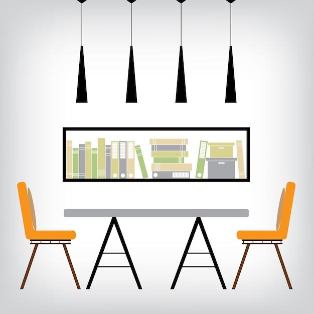 Interior Dining Room Premium Vector