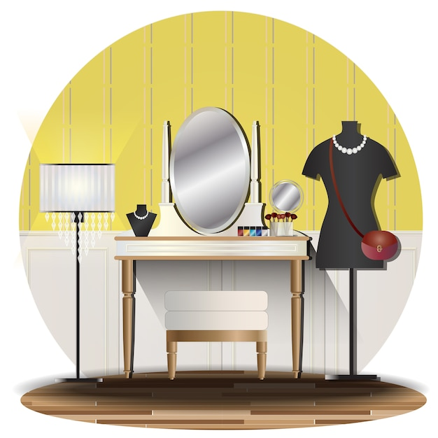 Interior dressing room elevation with background Premium Vector