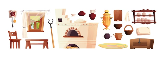 Interior elements of the russian hut. ancient russian stove, clock, bench, chest, samovar, grip, window with curtain. Premium Vector