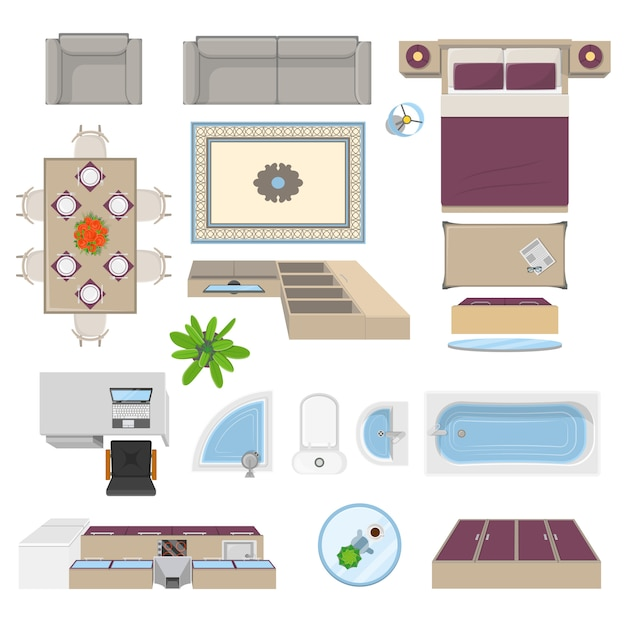 Interior elements top view position Free Vector