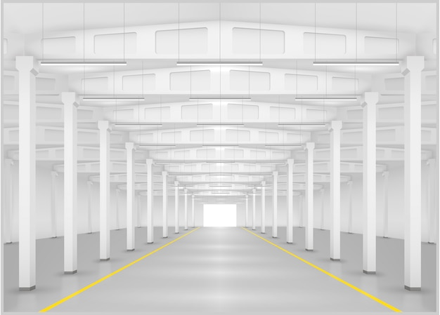 Interior of a factory or warehouse Premium Vector