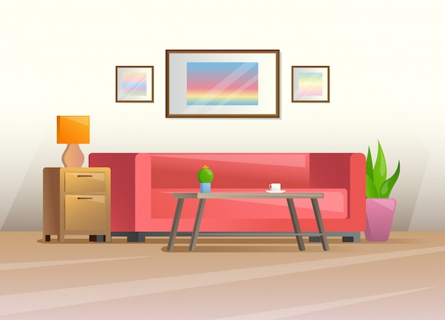 Interior in a flat style Premium Vector