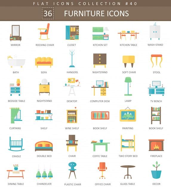 Interior furniture flat icons set Premium Vector