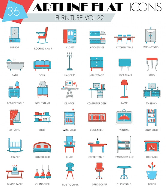 Interior furniture flat line icons set Premium Vector