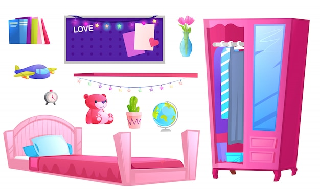 Interior of a girl room Premium Vector