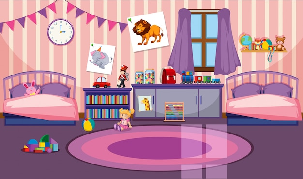 Interior of girls room Free Vector