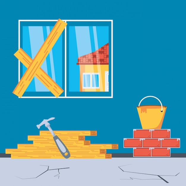 Interior of house under construction with tools Premium Vector