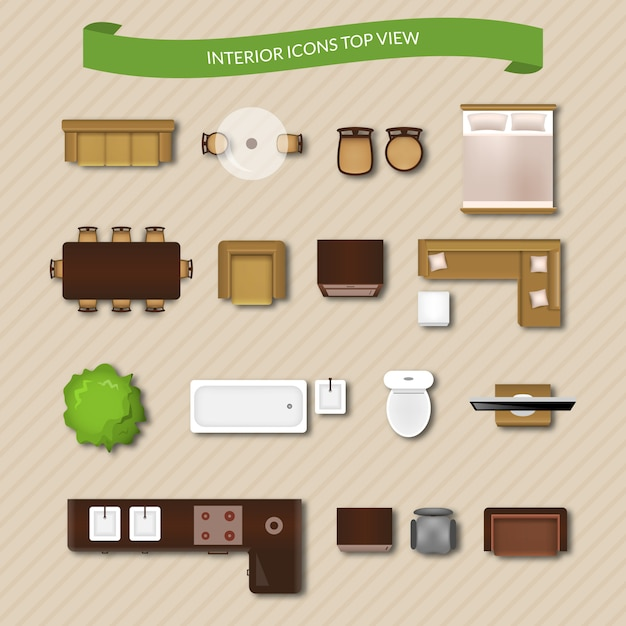 Interior icons top view Free Vector