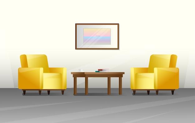スタイルのインテリア。居間の家具。図 Premiumベクター