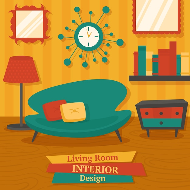 Interior Indoor Living Room Design With Sofa Lamp And Bookshelf Vector Illustration Free