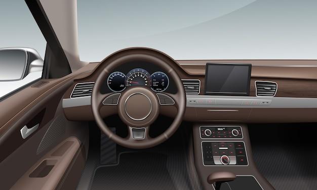 ブラウンカラーのレザーホイールランドダッシュボードを備えた車内インテリア Premiumベクター