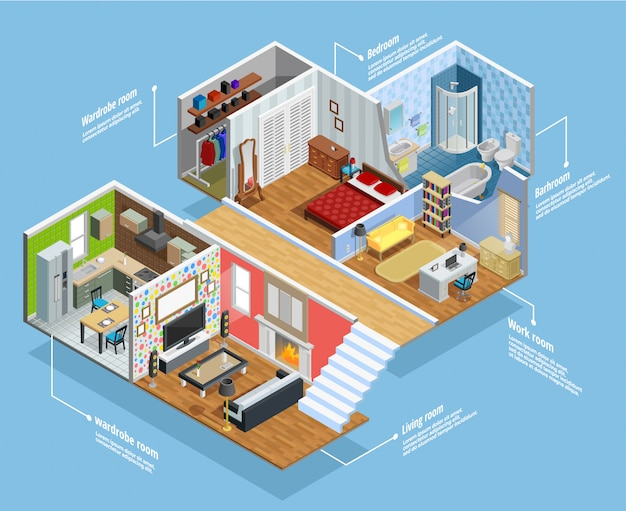 Interior isometric composition Free Vector