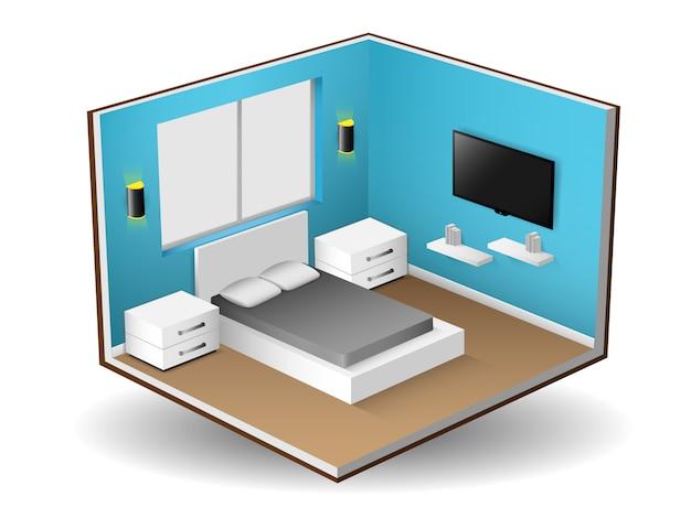 Interior isometric of modern bedroom interior design Premium Vector