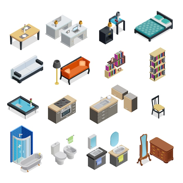 Interior isometric objects set Free Vector