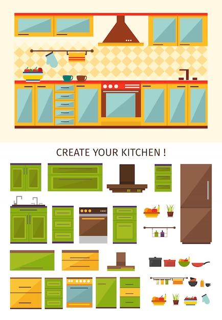 Interior kitchen creation Free Vector