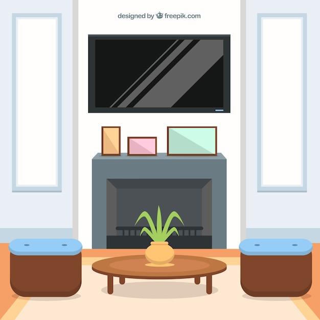 interior living-room in flat design