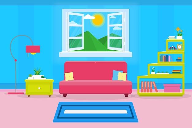 Интерьер гостиной современный уютный и роскошный стиль Premium векторы