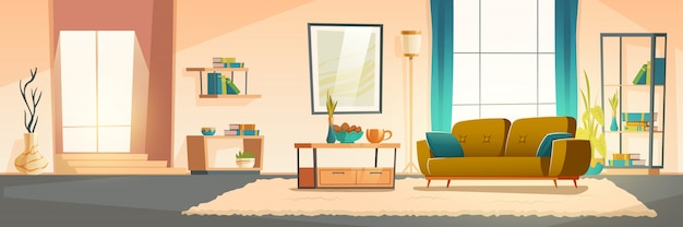 Interior of living room with sofa Free Vector