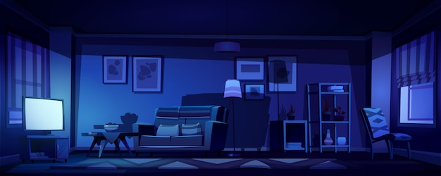 Interior of living room with tv at night Free Vector