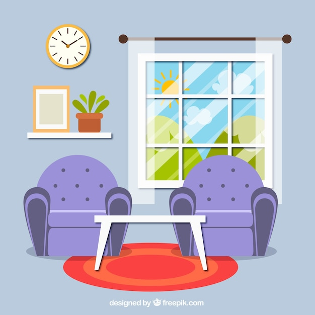 Interior of living room with two armchairs Free Vector