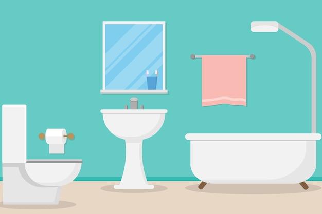 Interior modern bathroom design Premium Vector