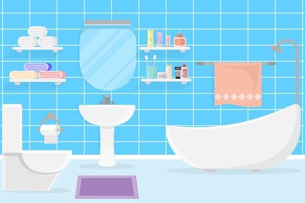 Interior modern bathroom design Premium Vector