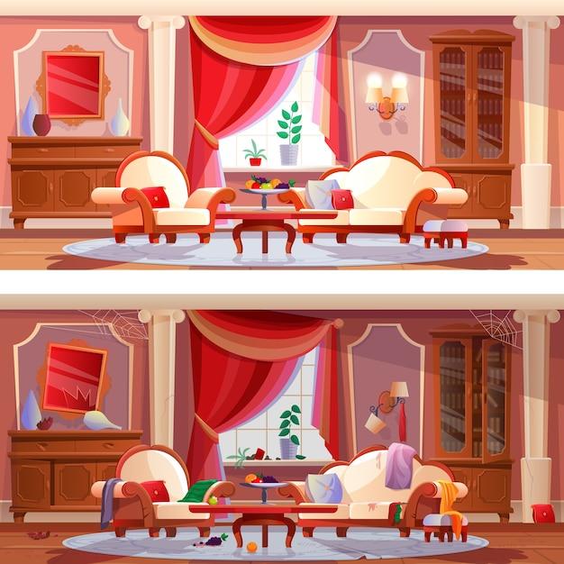 Интерьер красивой роскошной гостиной грязной и чистой комнаты с мебелью, Premium векторы