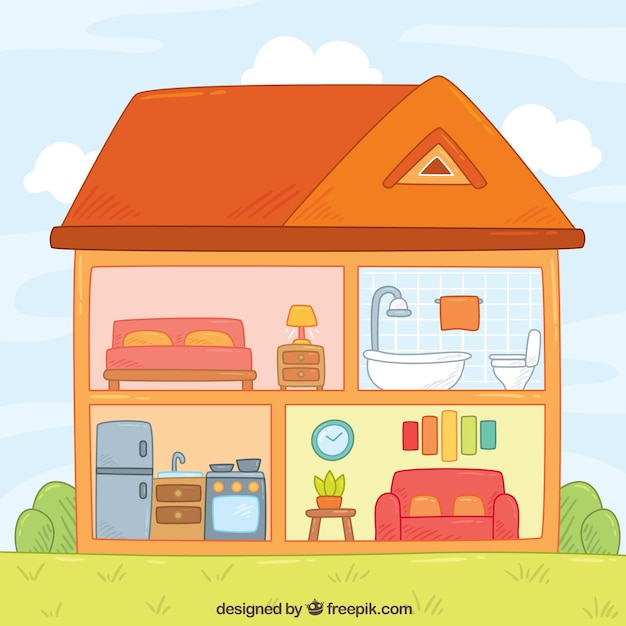 Drawn House Clipart Inside  Rooms