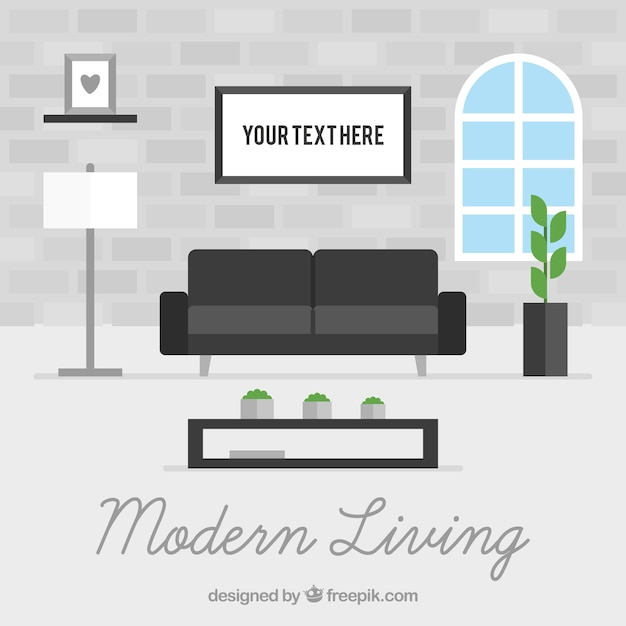 Interior Of Modern Living Room Vector Free Download