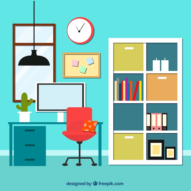 Interior Of Office With Bookcase Vector Free Download