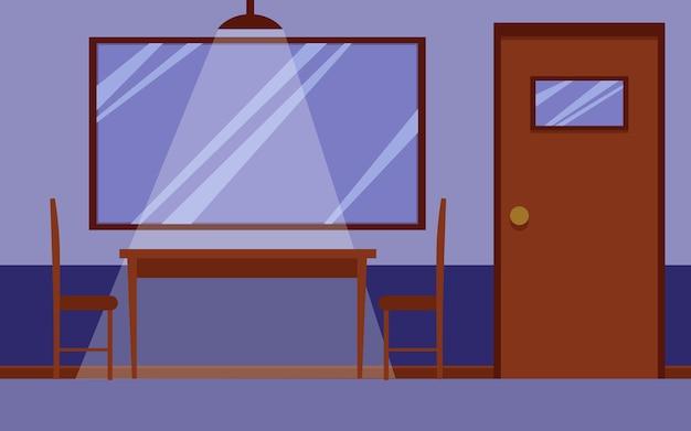 Интерьер комнаты для допросов в полицейском участке с деревянным столом и стульями для допроса, односторонним зеркальным окном на стене и никем внутри. иллюстрации шаржа. Premium векторы