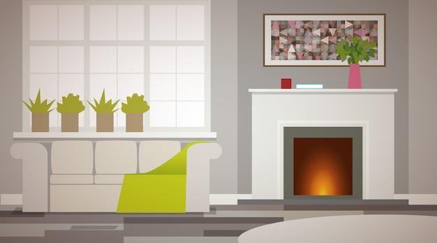 베이지 색 톤의 개인 주택의 내부입니다. 벽난로가 화상을 입습니다. 녹지가있는 대형 창문. 큰 부드러운 소파 프리미엄 벡터