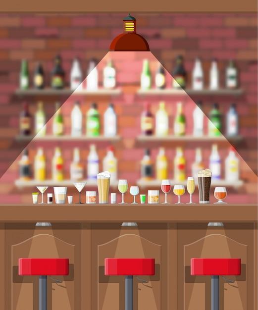 パブ、カフェ、バーのインテリア。 Premiumベクター