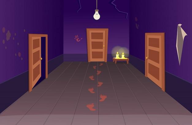 ドアの血の足跡とキャンドルで怖い家のインテリア。廊下のハロウィーン漫画のベクトルイラスト。 Premiumベクター