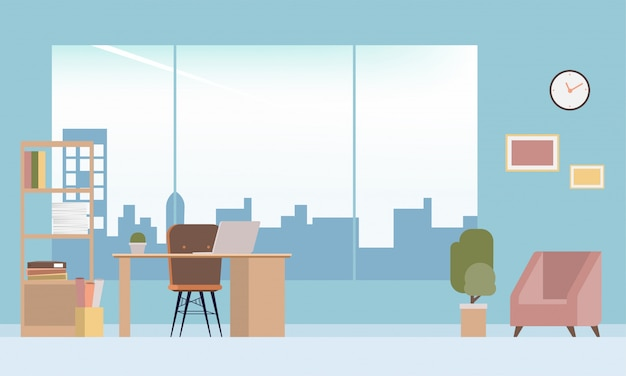 Interior office room design modern style. Premium Vector