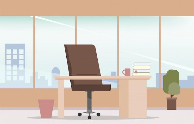 Interior office room workplace design modern style. Premium Vector